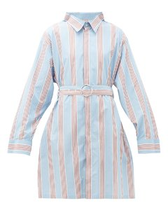 Belted striped cotton shirtdress