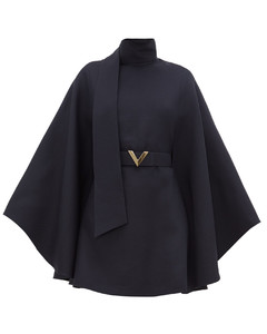 Belted cape-sleeve wool-blend mini dress