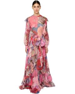 Printed Silk Chiffon Long Dress