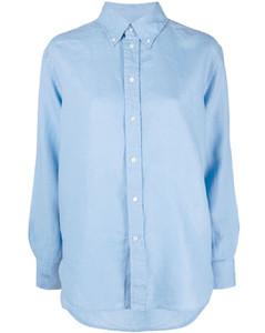 Striped twill mini shirt dress