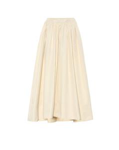 棉质府绸高腰加长半身裙