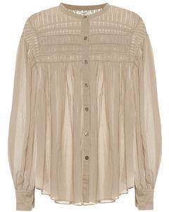 Printed cotton-blend twill midi skirt