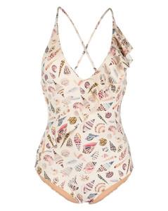 Gathered printed cotton-blend canvas midi skirt
