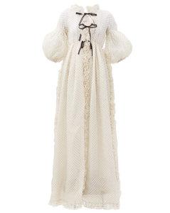 Ruffled polka-dot flocked organza gown