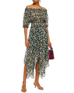 Off-the-shoulder metallic-trimmed floral-print silk-blend georgette midi dress