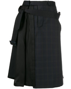 不对称百褶细节半身裙