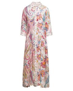 Twisted snake-print woven midi dress