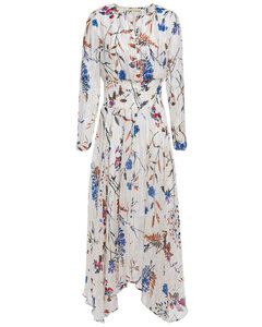 Shirred metallic floral-print fil coupémidi dress