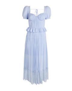 Pleated Chiffon Midi Dress
