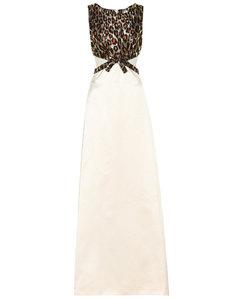 Leopard brocade silk-satin gown