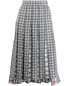 格纹羊毛百褶短裙