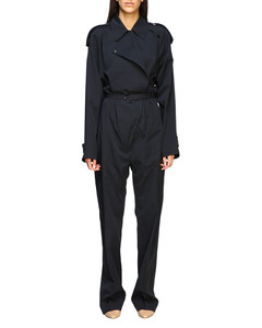 cotton trench-style jumpsuit