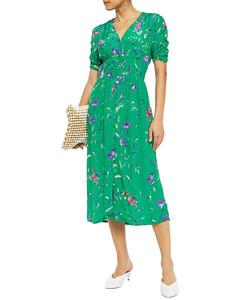 Gathered printed crepe midi dress