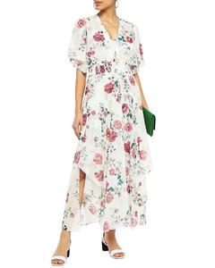 Shirred floral-print georgette maxi dress