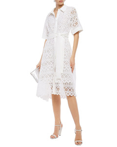 Asymmetric belted crepe-trimmed guipure lace midi shirt dress