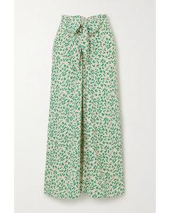 正面系带花卉印花绉纱中长半身裙