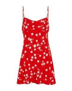 White Daisy red printed silk mini dress