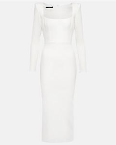 Panelled denim and bouclétweed mini skirt