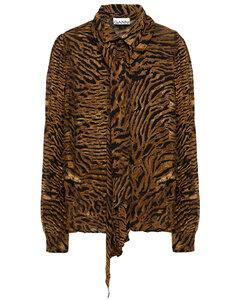 Monochrome leopard-print velvet mini dress