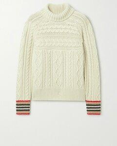条纹绞花针织羊绒高领毛衣