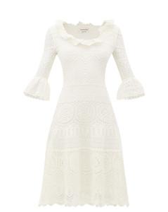 Fluted-sleeve crochet-knit midi dress