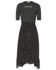 Crêpe polka-dot midi dress