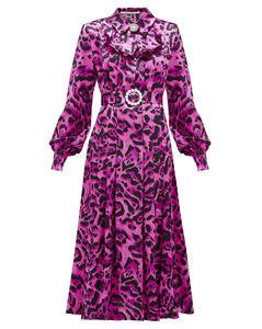 Crystal-buckle leopard-print silk midi dress