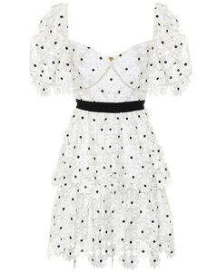 Daisy凸花蕾丝迷你连衣裙