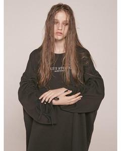[Unisex] 0 3 Shirring Sweatshirt - Black