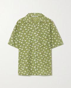花卉印花棉质混纺刺绣提花衬衫