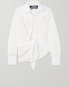 Bahia正面系带条纹纯棉提花衬衫