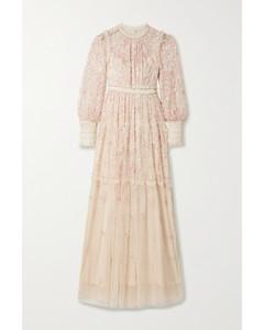 Whitethorn亮片刺绣绢网礼服
