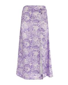 Satin Floral Print Skirt