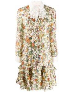 孔雀印花衬衫裙
