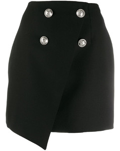 double-breasted asymmetric skirt