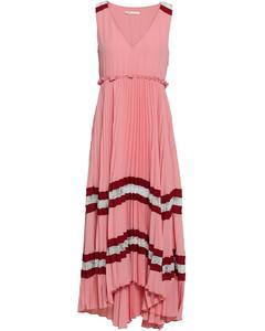 Ritello lace-trimmed pleated striped crepe midi dress
