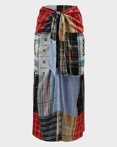 Patchwork Knotted Silk-Satin Skirt