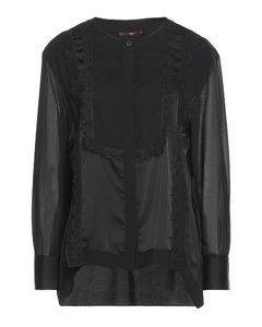 带缀饰单肩羊毛混纺斜纹布连身裤