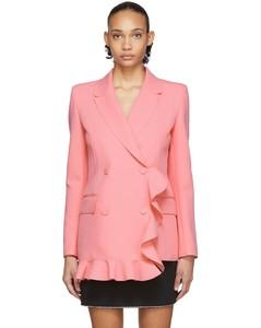 粉色荷叶边连衣裙