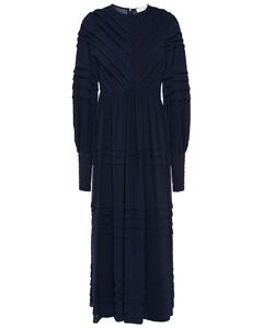 Gathered crushed-velvet robe midi dress