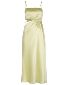 Yellow crystal-embellished satin midi dress