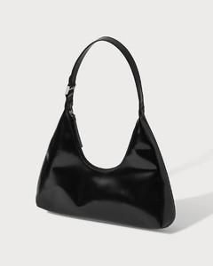 Amber Black Semi Patent Leather Bag