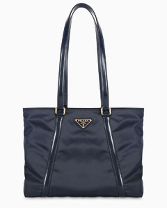 Blue nylon tote bag
