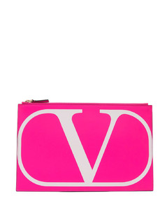 V-logo leather pouch
