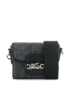 Virtus Baguette Bag In Black Ornated Leather