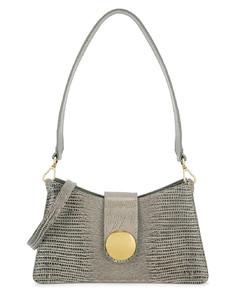 Baguette grey lizard-effect leather cross-body bag