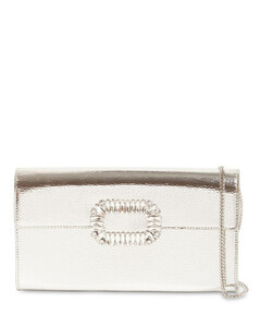 Metal Leather Envelope Clutch