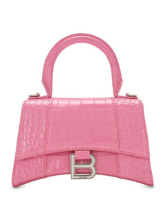 Xs Hourglass Croc Embossed Leather Bag