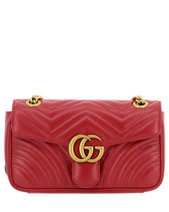 Marmont shoulder bag in chevron leather with monogram