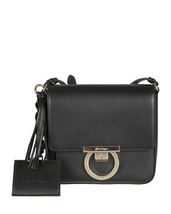 Lock charm detailed leather cross body bag